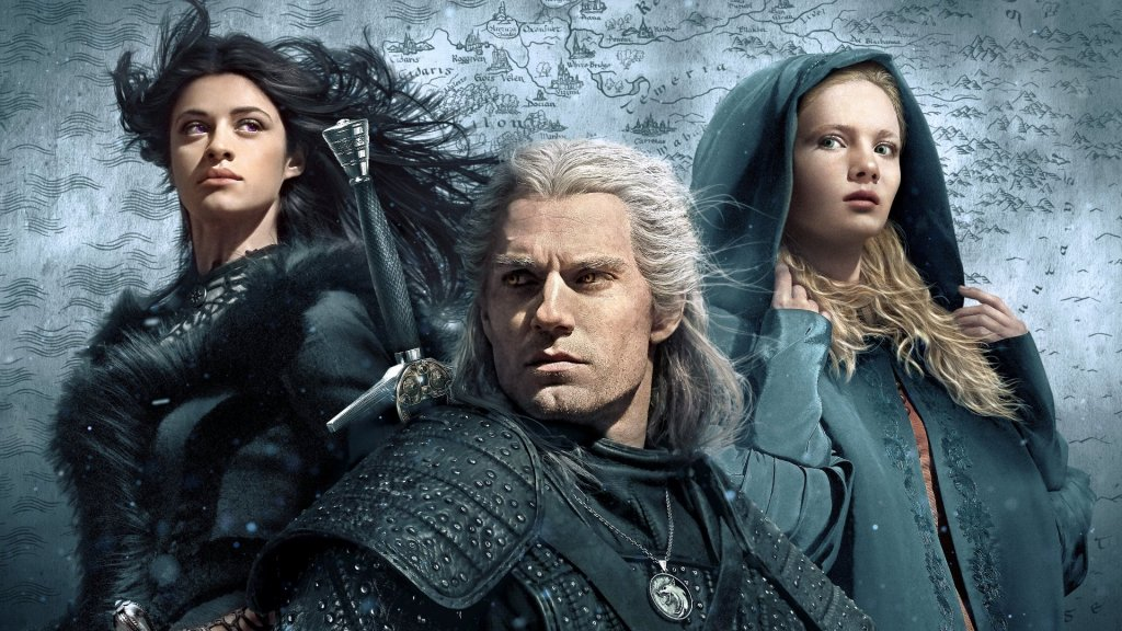 """Геральт, Йеннифер и Цири. Обои на рабочий стол. Сериал """"Ведьмак"""". 2K 2560x1440."""