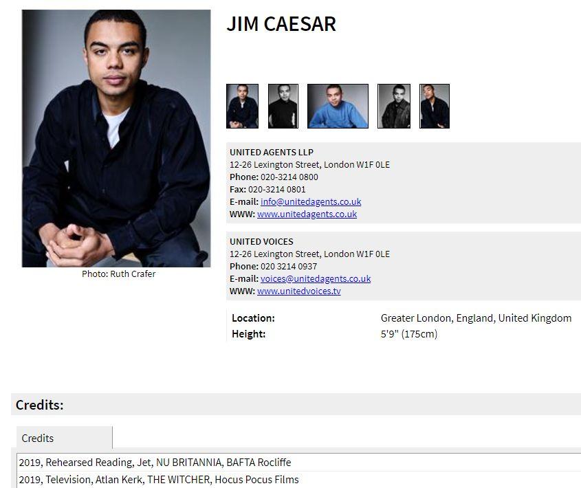 Резюме Джима Цезаря на сайте Spotlight