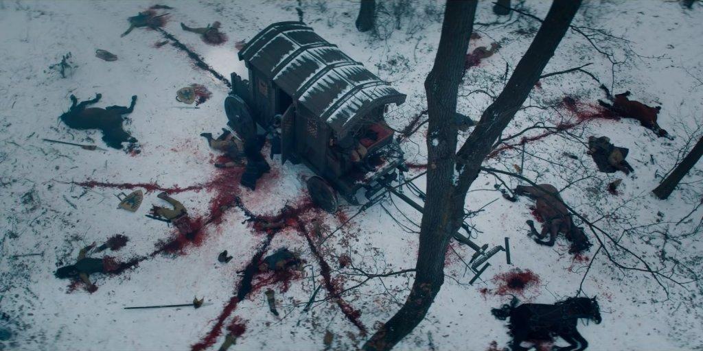 """Карета после нападения. Сцена из сериала """"Ведьмак""""."""