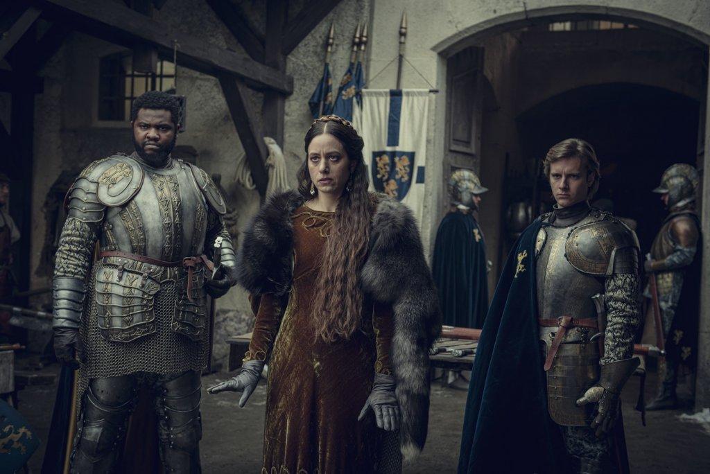 Королева Калантэ (Джоди Мэй), сир Данек (Тоби Бамтефа) и сир Лазло (Мацей Мусял). 7 серия.