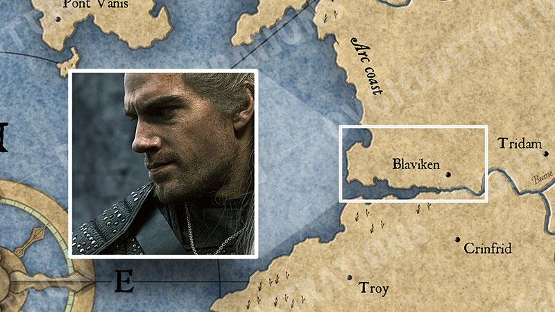 """Карта Континента """"Ведьмака"""". События 1 серии."""