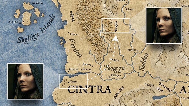 """Карта Континента """"Ведьмака"""". События 3 серии."""