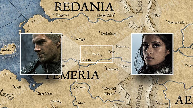"""Карта Континента """"Ведьмака"""". События 5 серии."""