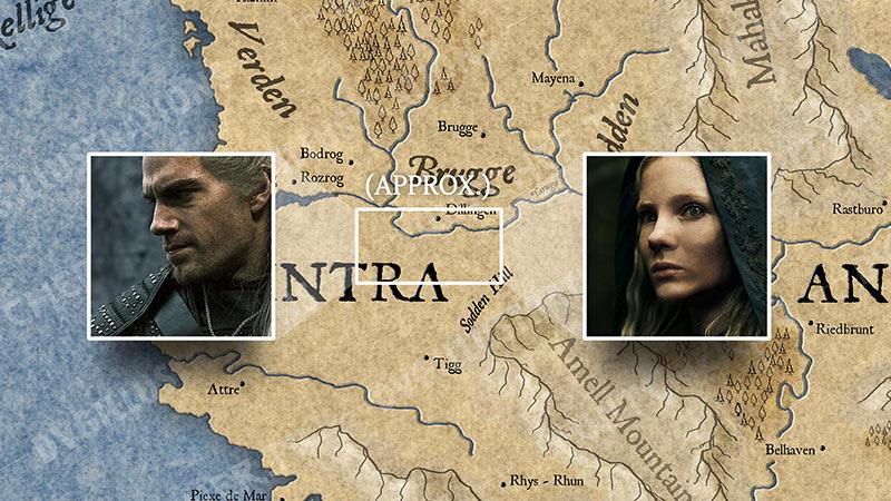 """Карта Континента """"Ведьмака"""". События 8 серии."""